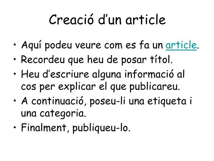 Creació d'un article