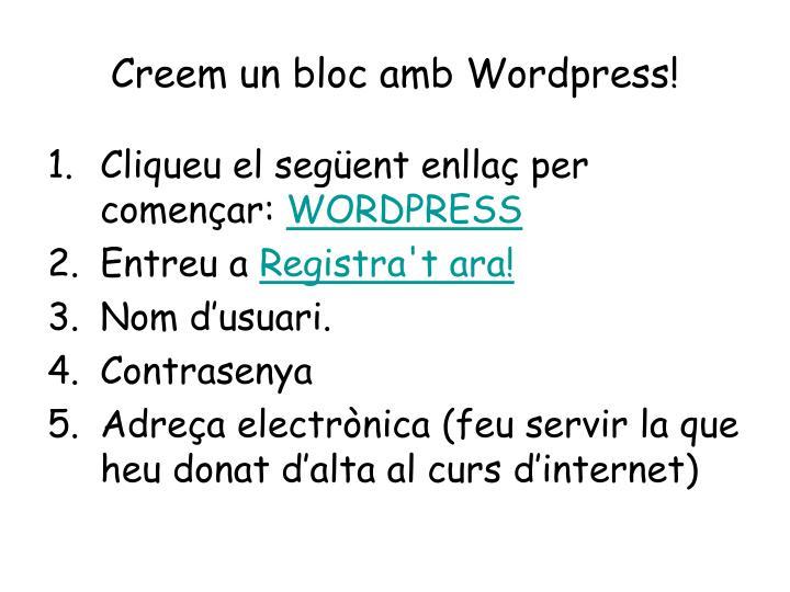 Creem un bloc amb Wordpress!
