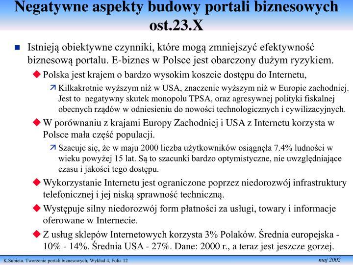 Negatywne aspekty budowy portali biznesowych ost.23.X