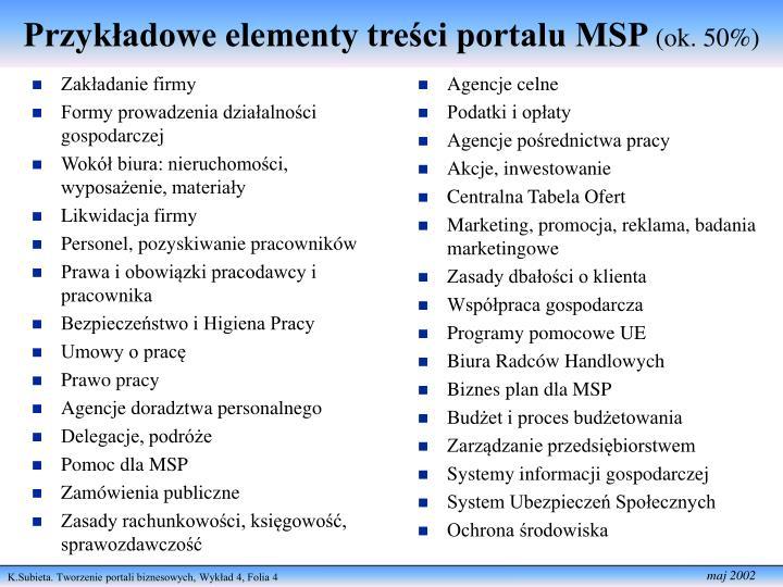Przykładowe elementy treści portalu MSP