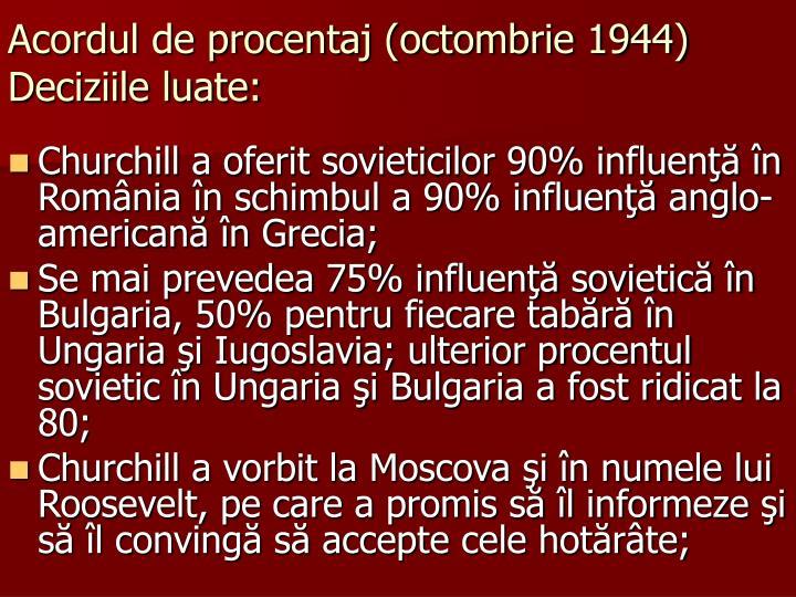 Acordul de procentaj (octombrie 1944)