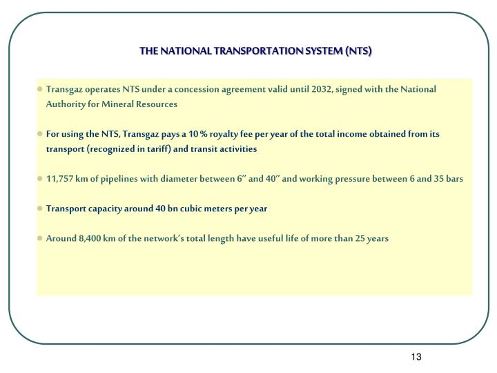 THE NATIONAL TRANSPORTATION SYSTEM (NTS)