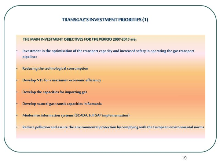 TRANSGAZ'S INVESTMENT PRIORITIES (1)