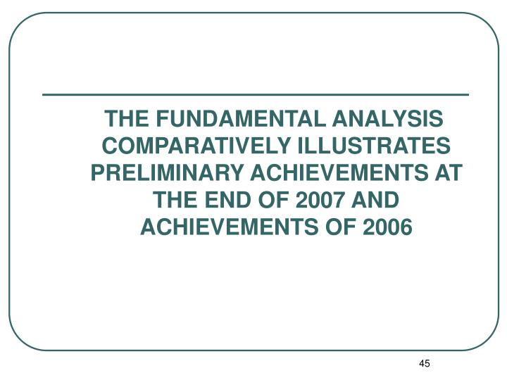 THE FUNDAMENTAL ANALYSIS COMPARATIVELY ILLUSTRATES PRELIMINARY ACHIEVEMENTS AT THE END OF 2007 AND ACHIEVEMENTS OF 2006