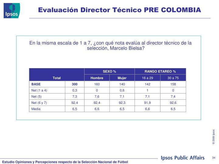 Evaluación Director Técnico PRE COLOMBIA