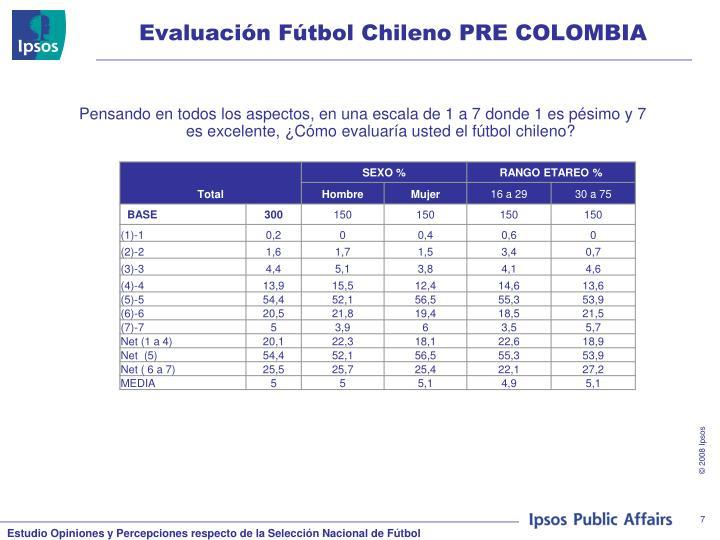 Evaluación Fútbol Chileno PRE COLOMBIA