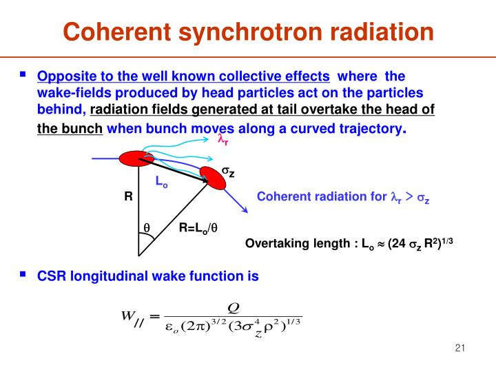Coherent synchrotron radiation
