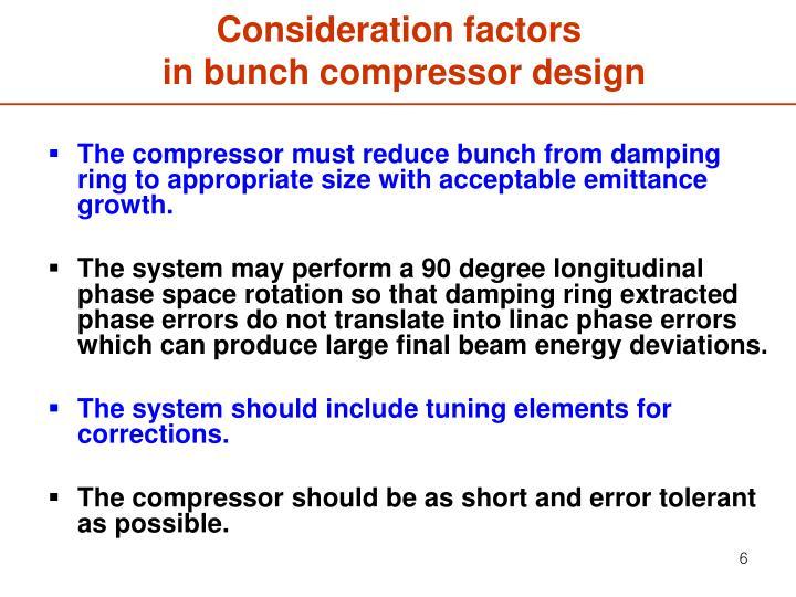 Consideration factors