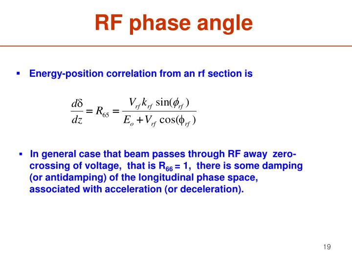 RF phase angle