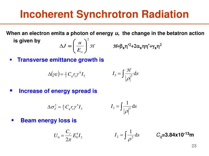 Incoherent Synchrotron Radiation