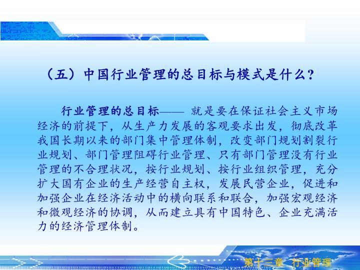 (五)中国行业管理的总目标与模式是什么?