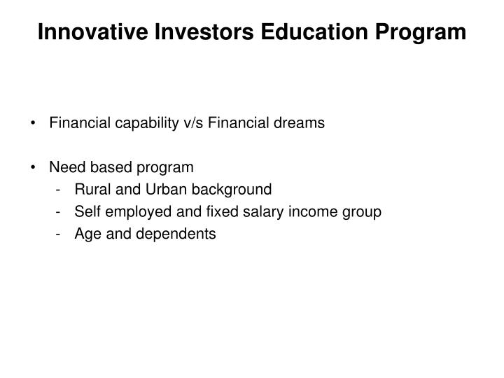 Innovative Investors Education Program
