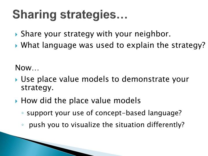Sharing strategies…