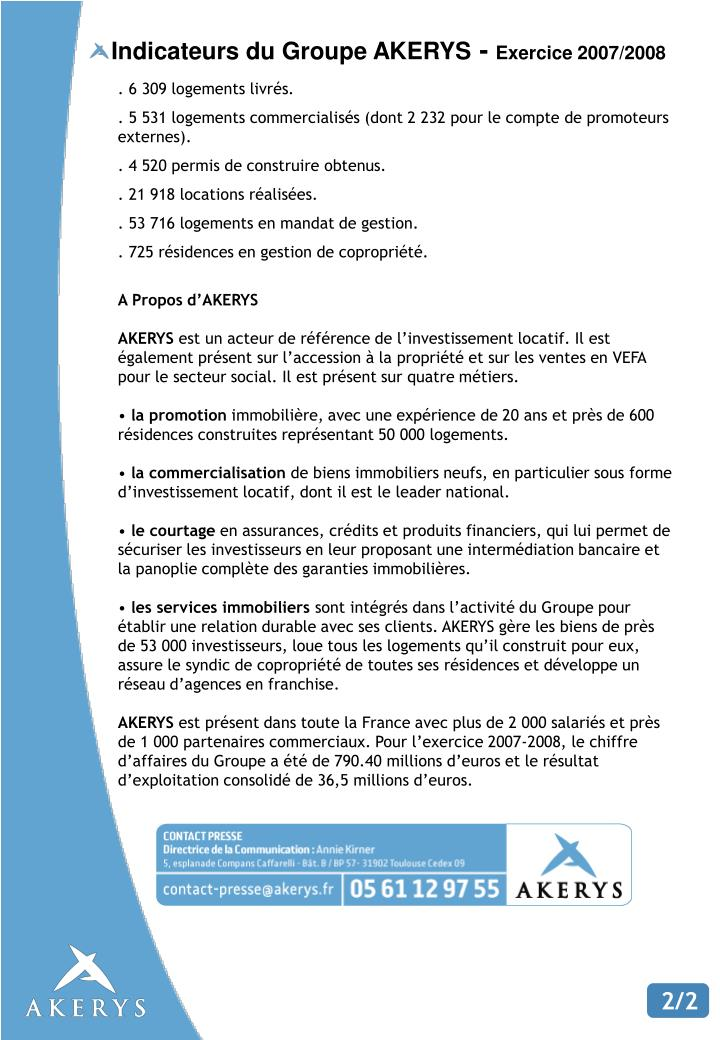 Indicateurs du Groupe AKERYS