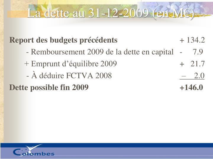 La dette au 31-12-2009 (en M€)