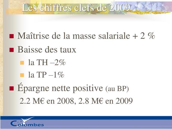 Les chiffres clefs de 2009