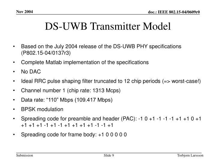 DS-UWB Transmitter Model