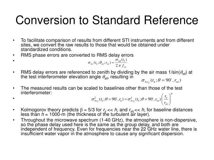 Conversion to Standard Reference