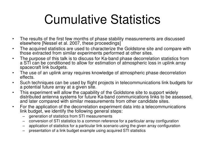 Cumulative Statistics
