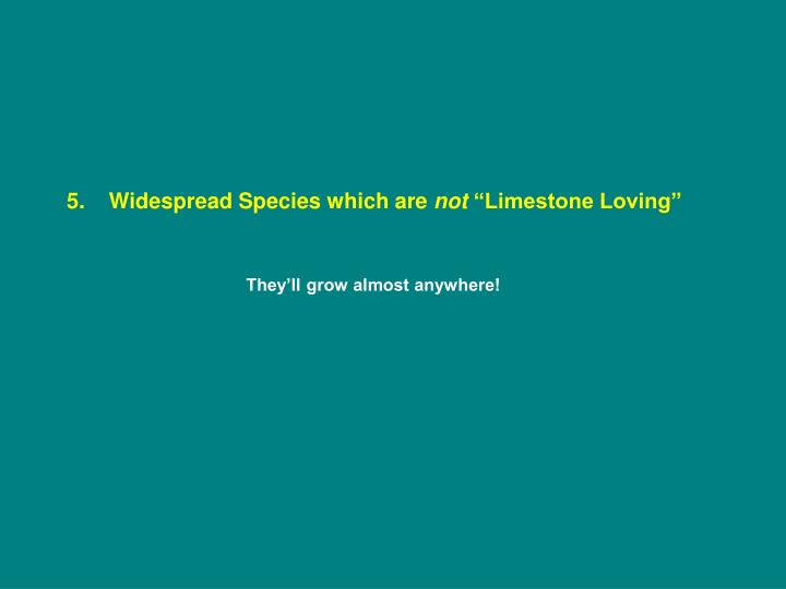 5.    Widespread Species which are