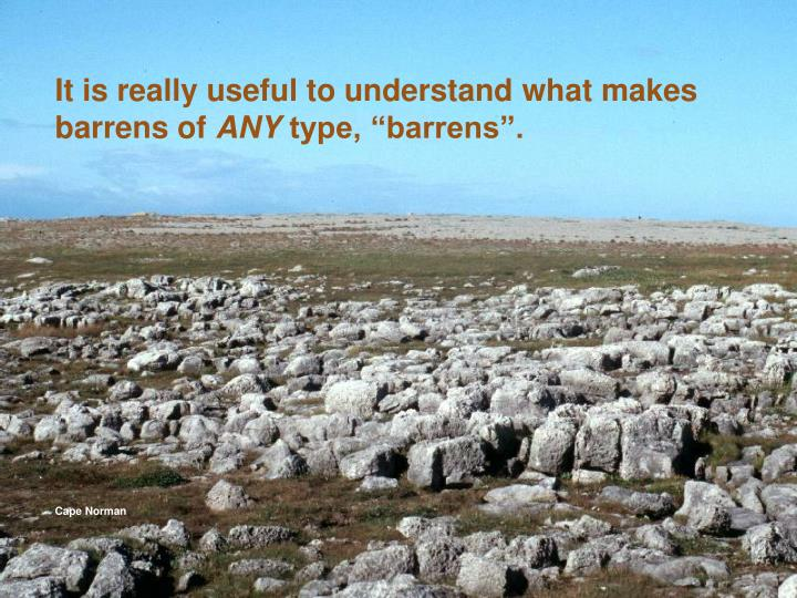 It is really useful to understand what makes barrens of