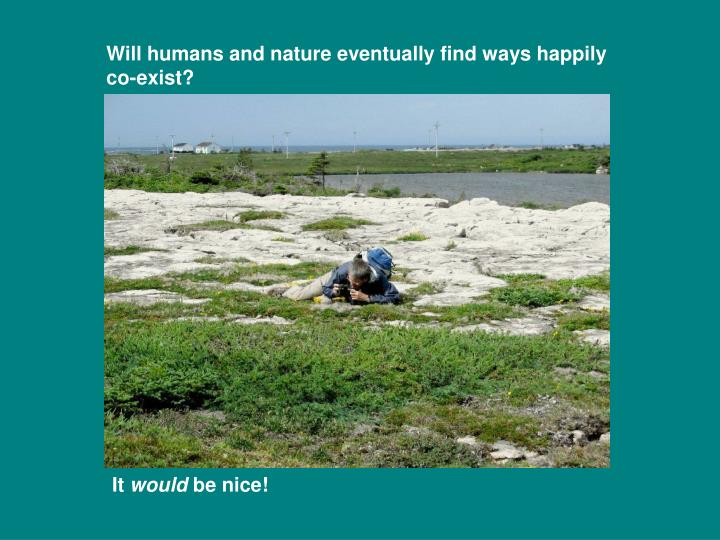 Will humans and nature eventually find ways happily co-exist?