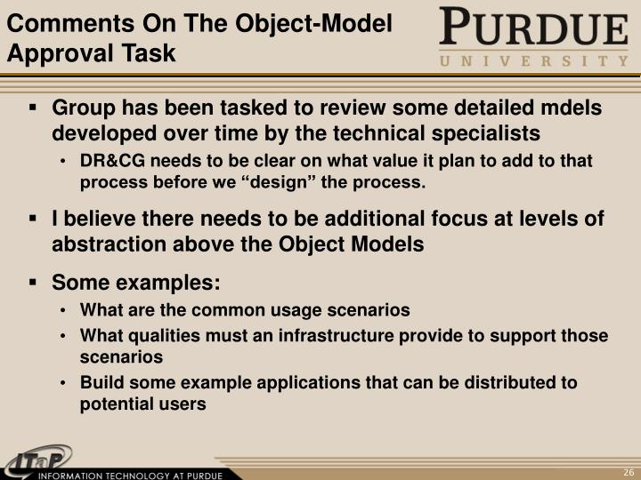 Comments On The Object-Model Approval Task