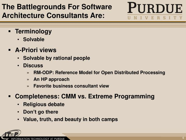 The Battlegrounds For Software Architecture Consultants Are: