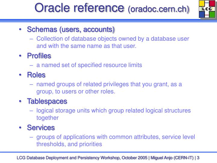 Oracle reference oradoc cern ch