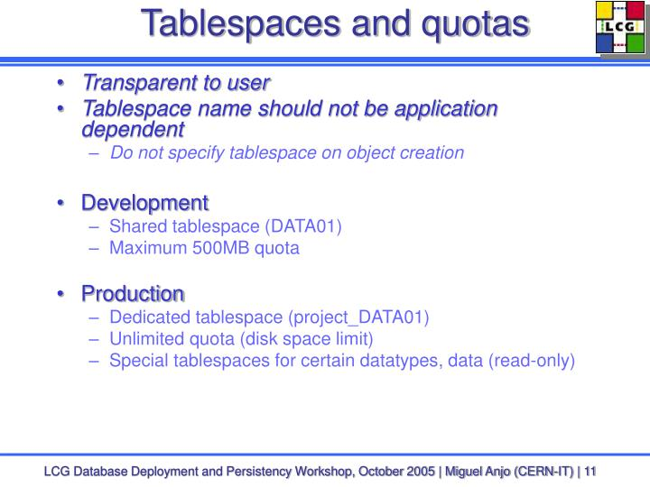 Tablespaces and quotas