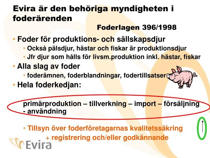 Evira är den behöriga myndigheten i foderärenden