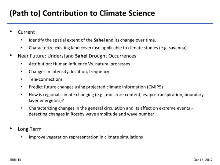 (Path to) Contribution to Climate Science