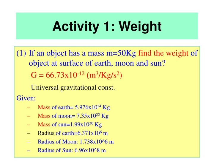 Activity 1: Weight
