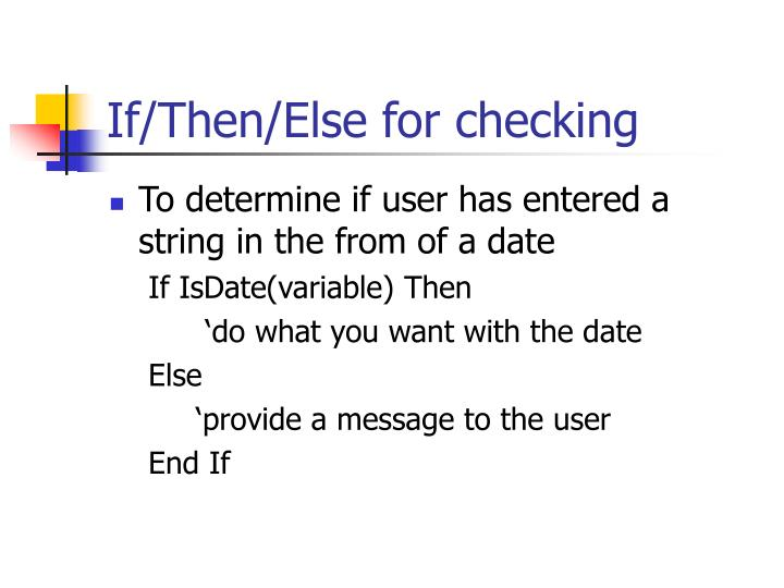 If/Then/Else for checking
