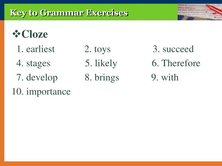 Key to Grammar Exercises