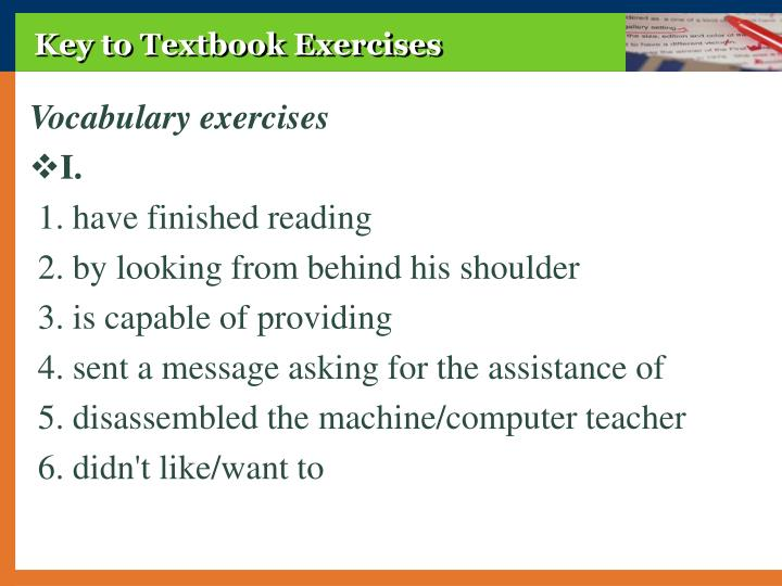 Key to Textbook Exercises