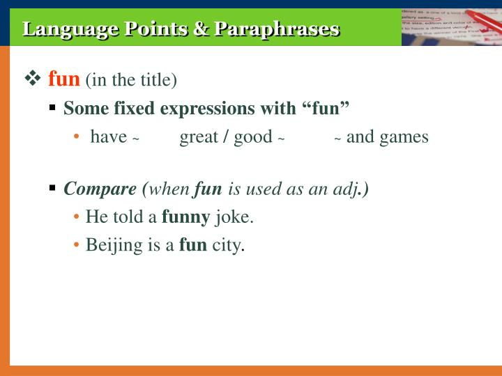 Language Points & Paraphrases