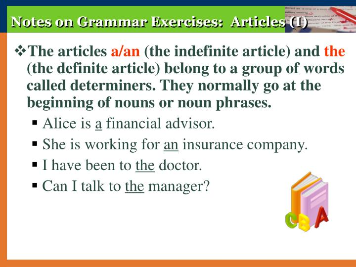 Notes on Grammar Exercises:  Articles (I)