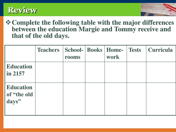 Complete the following table with the major differences between the education Margie and Tommy receive and that of the old days.