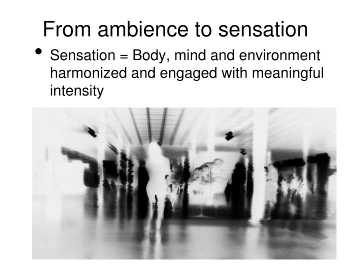 From ambience to sensation