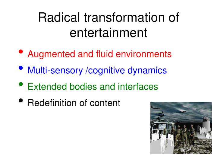Radical transformation of entertainment