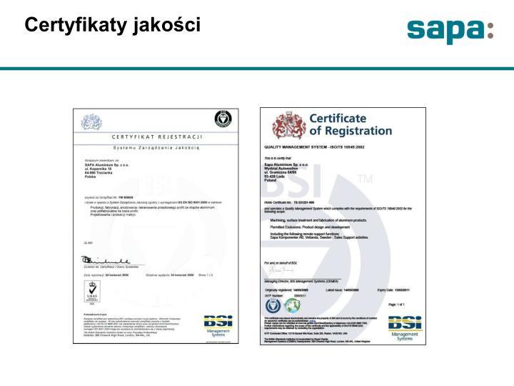 Certyfikaty jakości