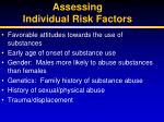 assessing individual risk factors