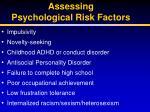 assessing psychological risk factors