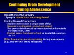 continuing brain development during adolescence