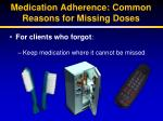 medication adherence common reasons for missing doses2