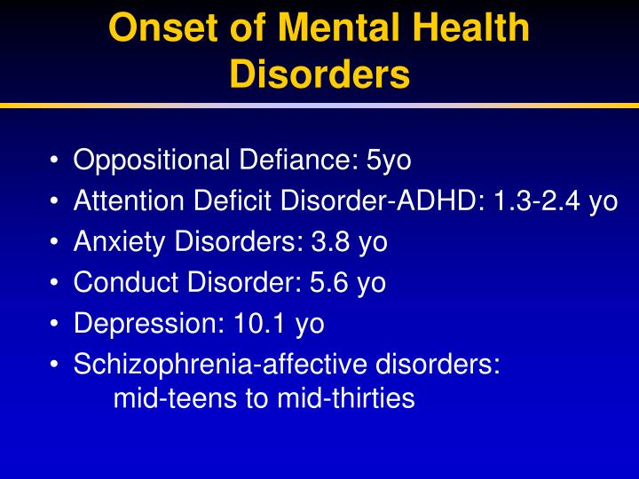 Onset of Mental Health Disorders