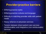 provider practice barriers
