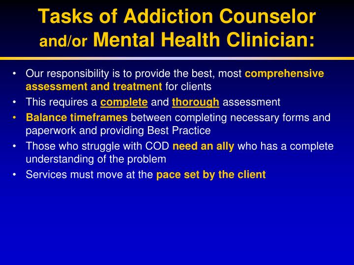 Tasks of Addiction Counselor