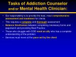 tasks of addiction counselor and or mental health clinician
